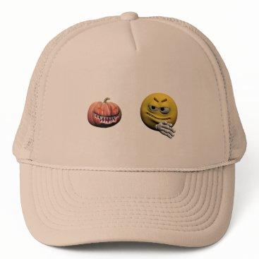 Halloween Themed Yellow halloween emoticon or smiley trucker hat