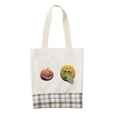 Yellow halloween emoticon or smiley zazzle HEART tote bag