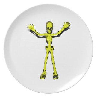 Yellow Halloween Skeleton Party Plates