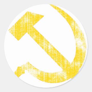 Yellow Hammer Sickle Round Stickers
