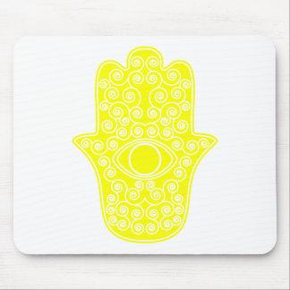 Yellow Hamsa-Hand of Miriam-Hand of Fatima.png Mouse Pad
