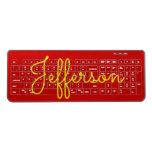 [ Thumbnail: Yellow Handwritten-Like Custom Name On Red Wireless Keyboard ]