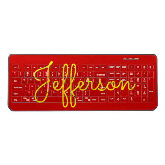 Yellow Handwritten-Like Custom Name on Red Wireless Keyboard