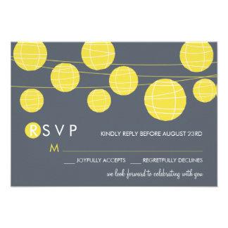 Yellow Hanging Chinese Paper Lanterns RSVP Card