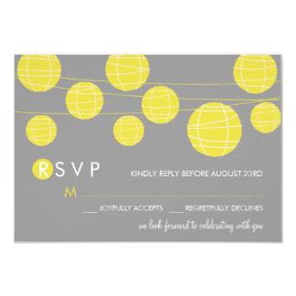 "Yellow Hanging Chinese Paper Lanterns RSVP Card 3.5"" X 5"" Invitation Card"