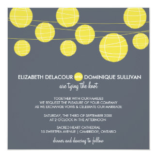 Yellow Hanging Paper Lanterns Wedding Invitation