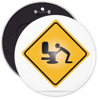 Yellow hangover warning sign button