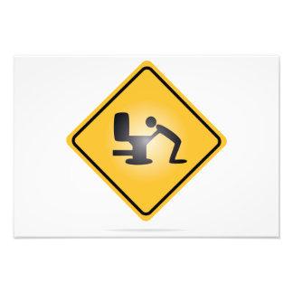 Yellow hangover warning sign photo print
