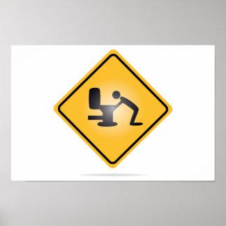 Yellow hangover warning sign poster