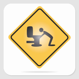 Yellow hangover warning sign square sticker