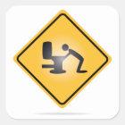Yellow hangover warning sign sticker