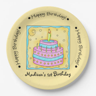 Yellow Happy 1st Birthday Cake Name Personalized Paper Plate