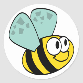 Yellow Happy Bee Tshirts and Gifts Classic Round Sticker