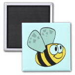 Yellow Happy Bee Tshirts and Gifts Fridge Magnets