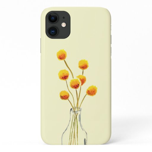 Yellow happy Billy Button flowers Australian art iPhone 11 Case
