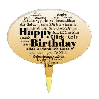 Yellow Happy Birthday Heart Cake Topper