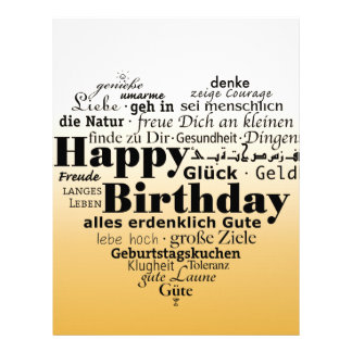 Yellow Happy Birthday Heart Letterhead
