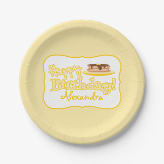 Yellow Happy Birthday Pancakes Paper Plate