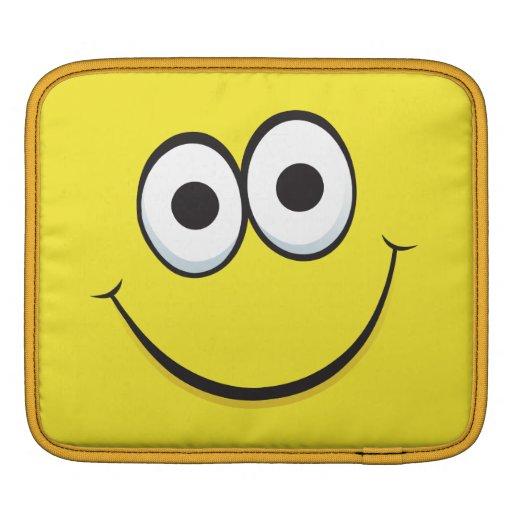 Yellow happy cartoon smiley face funny iPad sleeve