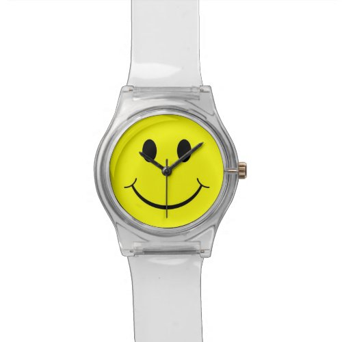 Yellow Happy Face 70's Clear Lucite Watch
