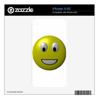 Yellow Happy Face Smiley iPhone 4 Decal