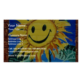 yellow Happy face sunflower flowers Business Card Templates