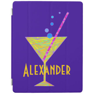 Yellow Happy Hour Cocktail Glass Martini Colorful iPad Cover