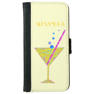 Yellow Happy Hour Cocktail Glass Martini Colorful iPhone 6/6s Wallet Case