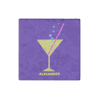 Yellow Happy Hour Cocktail Glass Martini Colorful Stone Magnet