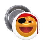 Yellow happy pirate wearing a eye patch pinback buttons