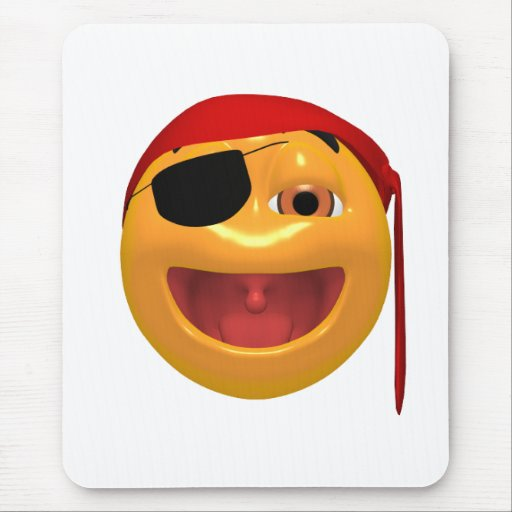 Yellow happy pirate wearing a eye patch mouse pad
