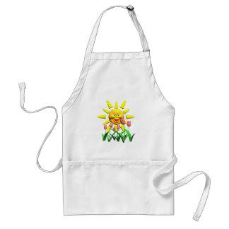 Yellow happy smile sun around fowers adult apron