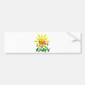 Yellow happy smile sun around fowers bumper sticker