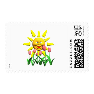 Yellow happy smile sun around fowers postage
