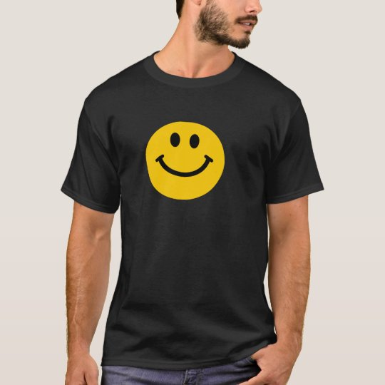 Yellow happy smiley face black t-shirt