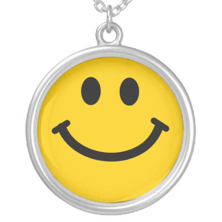 Yellow happy smiley face necklace