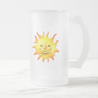 Yellow happy sun smiley face frosted glass beer mug