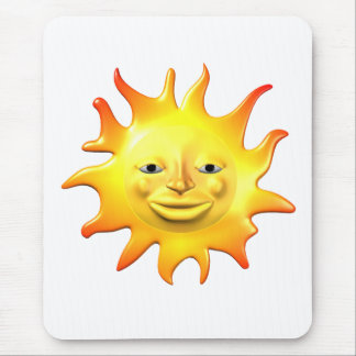 Yellow happy sun smiley face mouse pad