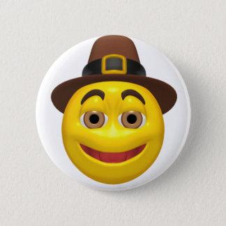 Yellow happy thanksgiving pilgram pinback button