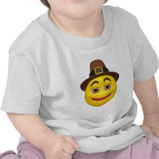 Yellow happy thanksgiving pilgram tshirt