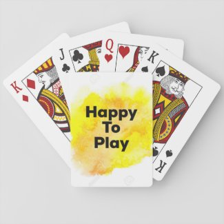 YELLOW HAPPY TO PLAY PLAYING CARDS