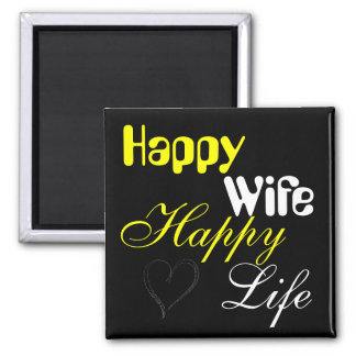 Yellow Happy Wife Happy Life Magnet