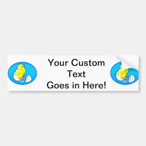 yellow hatching chicks blue oval.png bumper stickers