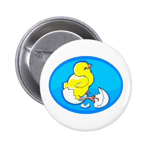 yellow hatching chicks blue oval.png 2 inch round button