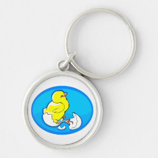 yellow hatching chicks blue oval.png keychain