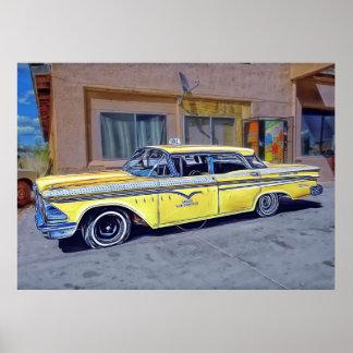 Yellow Havana Taxi Poster