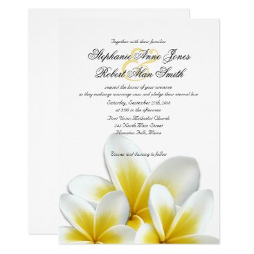 Beach Themed Yellow Hawaiian Plumeria Frangipani Wedding Card