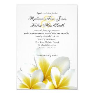 Yellow Hawaiian Plumeria Frangipani Wedding Card