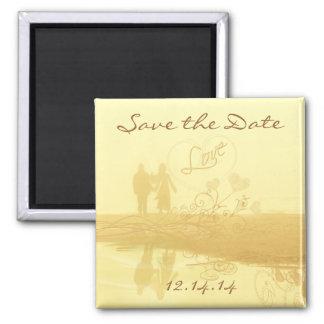 Yellow Heart Beach Wedding Magnet
