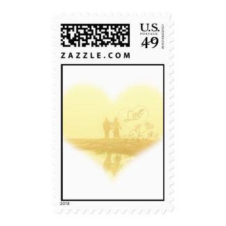 Yellow Heart Beach Wedding Postage Stamps
